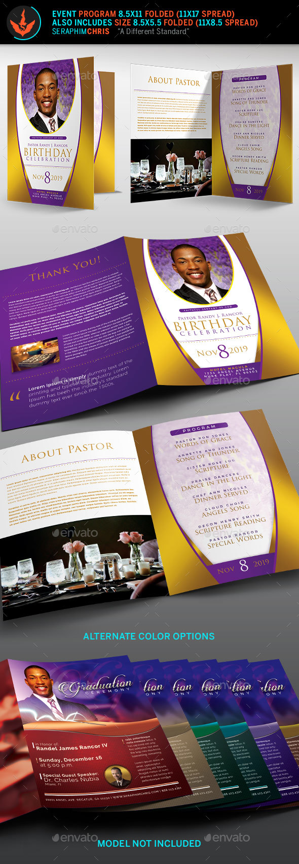 Royal Pastor Birthday Party Program Template - Informational Brochures