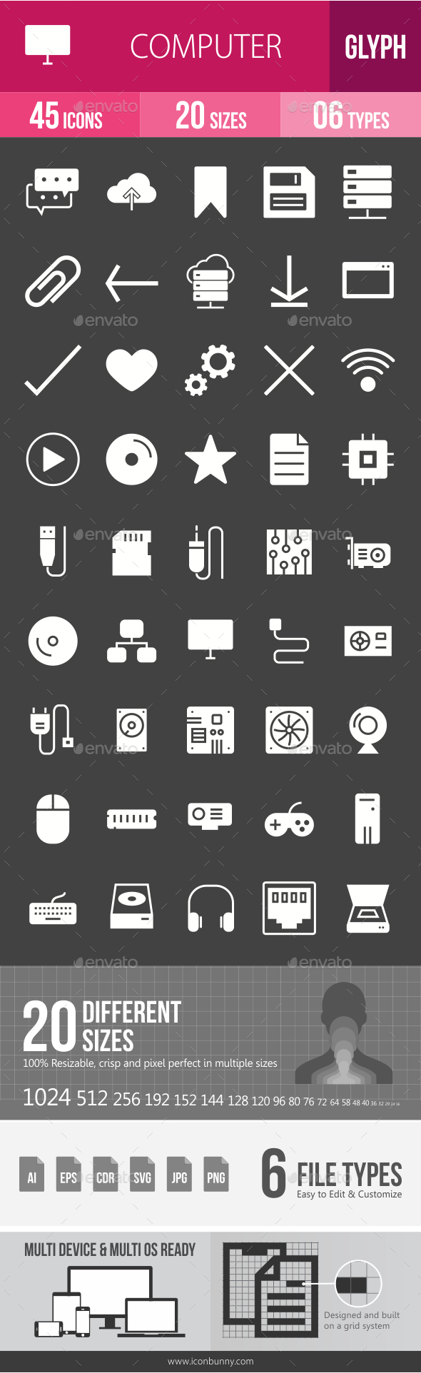 GraphicRiver Computer Hardware Glyph Inverted Icons 20797926