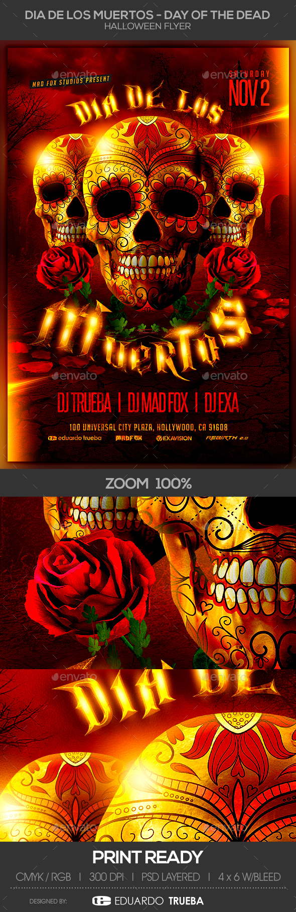 Dia de los Muertos - Day of the Dead Halloween Flyer - Clubs & Parties Events