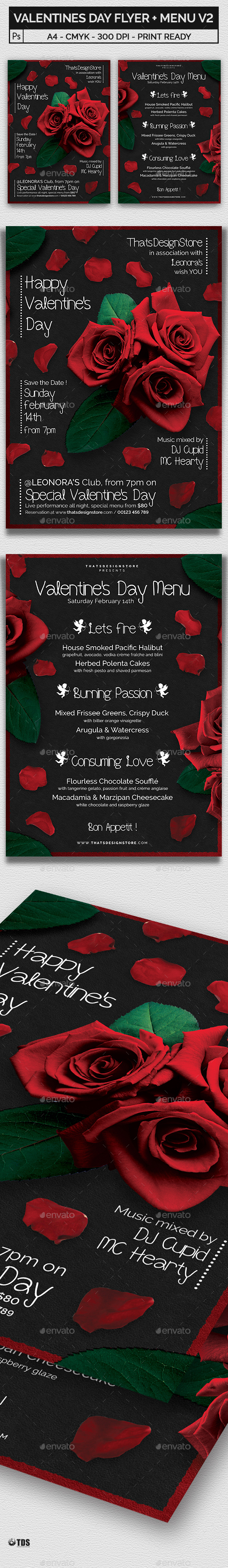 Valentines Day Flyer + Menu Bundle V2 - Holidays Events