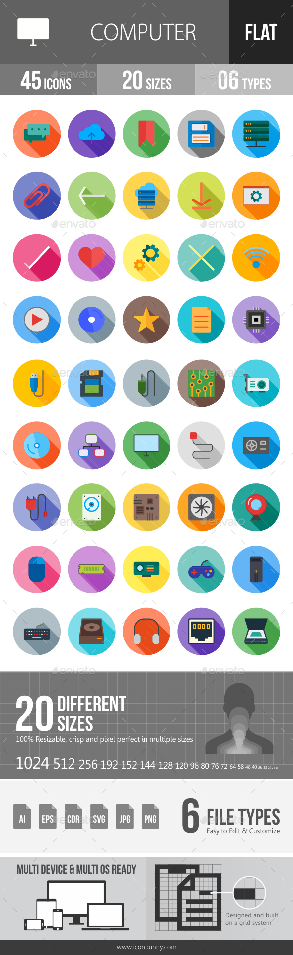 GraphicRiver Computer Hardware Flat Shadowed Icons 20798073