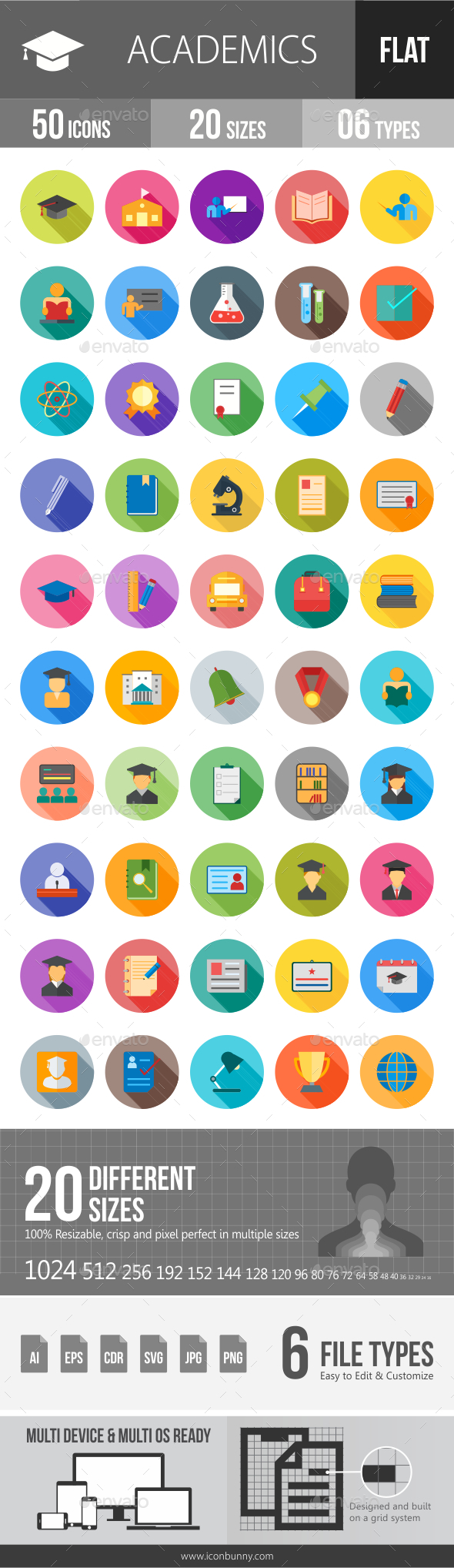 GraphicRiver Academics Flat Shadowed Icons 20798080