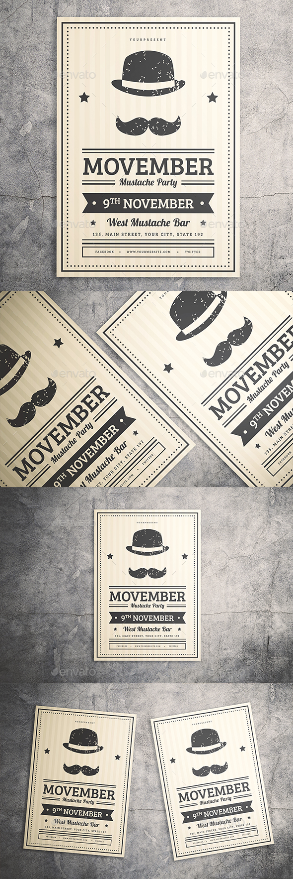 Mustache Party Flyer - Events Flyers