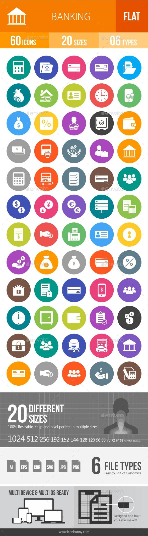 GraphicRiver Banking Flat Round Icons 20798730