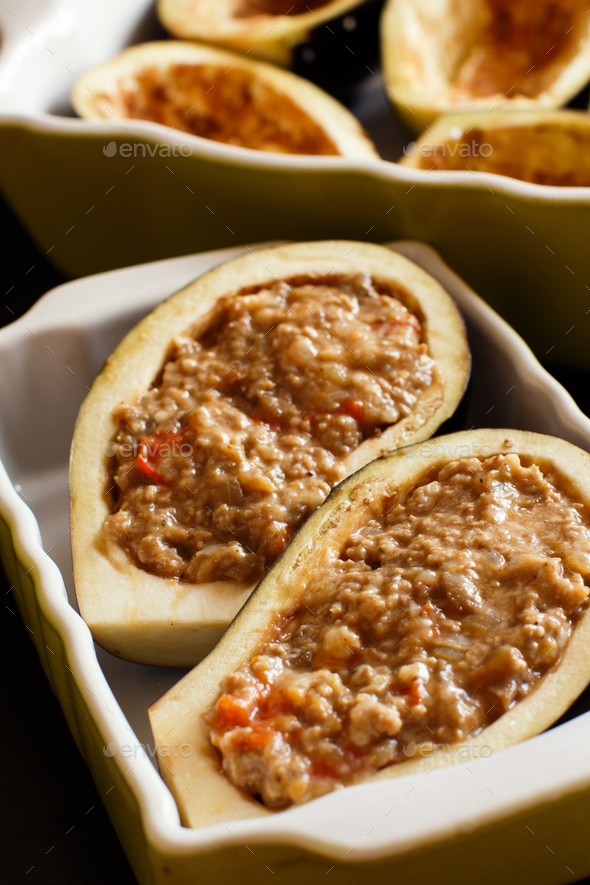 Stuffed eggplant before the oven - Stock Photo - Images