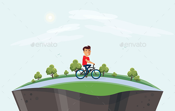 GraphicRiver Man on Electric Bicycle Riding in Nature Arranged on Globe 20798990