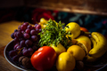 Mix of delicious fruits in a plate on a wooden table - PhotoDune Item for Sale