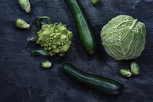 Organic vegetables on wooden table. Top view - Stock Photo - Images