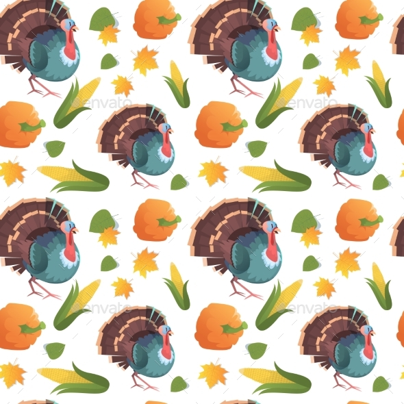 Autumn Seamless Pattern Happy Thanksgiving Day - Backgrounds Decorative