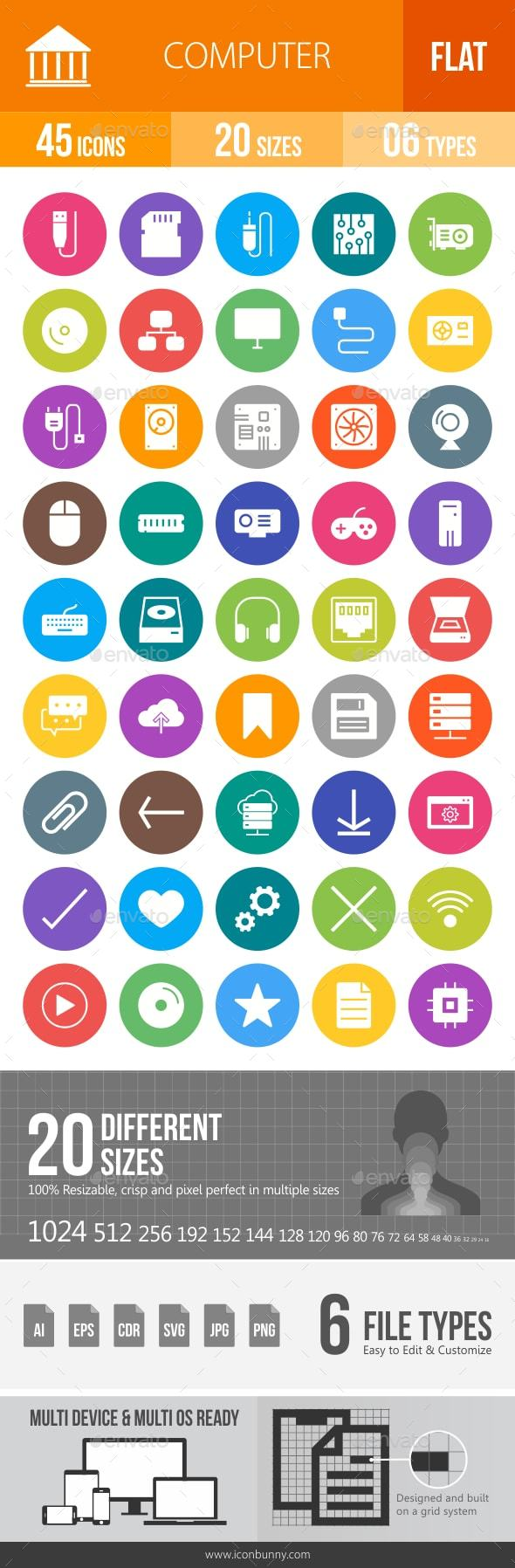 Computer Hardware Flat Round Icons - Icons