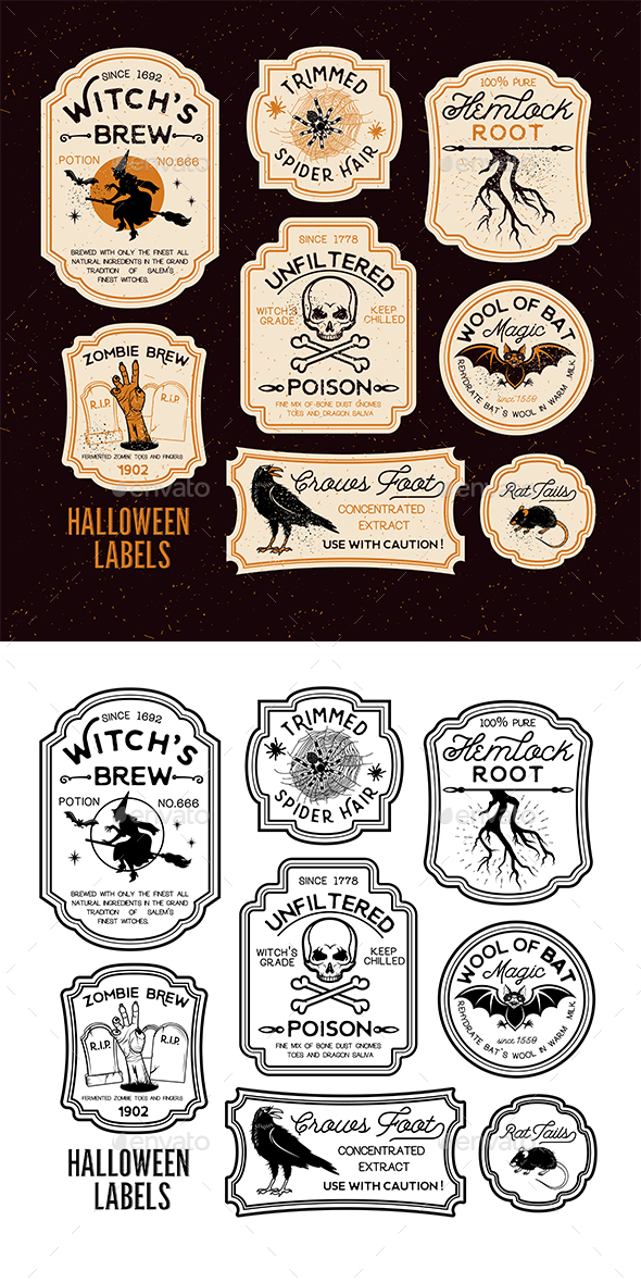 Halloween Bottle Labels - Halloween Seasons/Holidays