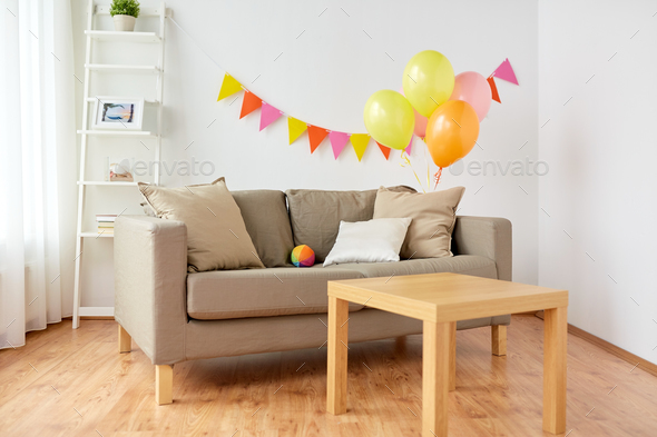 living room decorated for home birthday party - Stock Photo - Images