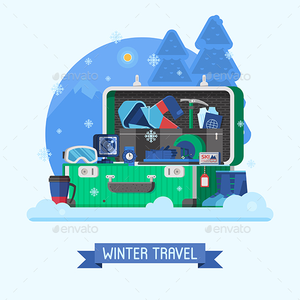 GraphicRiver Winter Travel Suitcase Fully Stuffed 20800649