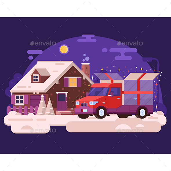 GraphicRiver Winter Car Delivering Christmas Gift 20800795