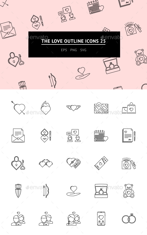 GraphicRiver The Love Outline Icons 25 20800883