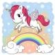 Cartoon Unicorn and Rainbow