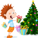 Children under the Christmas Tree Unwrap Gifts - GraphicRiver Item for Sale