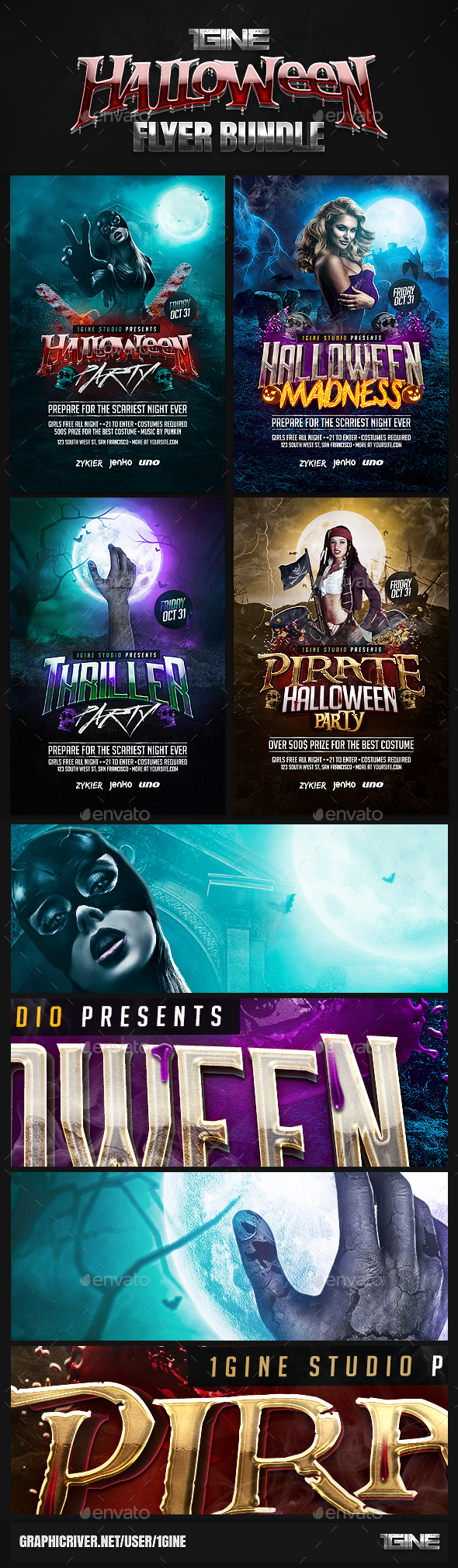 4 in 1 Halloween Flyer Bundle - Clubs & Parties Events