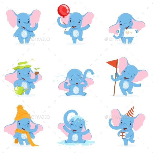 Elephant Character Set - Animals Characters
