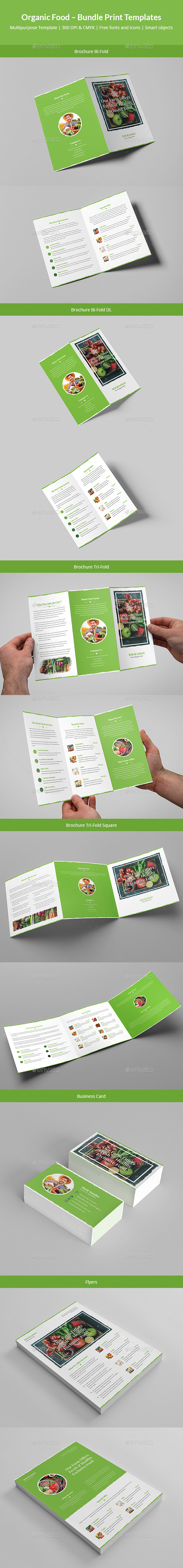 Organic Food – Bundle Print Templates - Informational Brochures