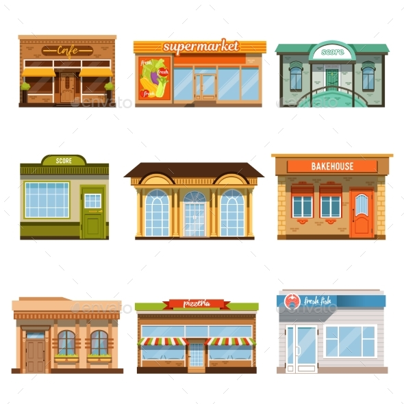 GraphicRiver Store Shop Front Window Buildings Icon Set Flat 20801060
