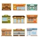 Store Shop Front Window Buildings Icon Set Flat