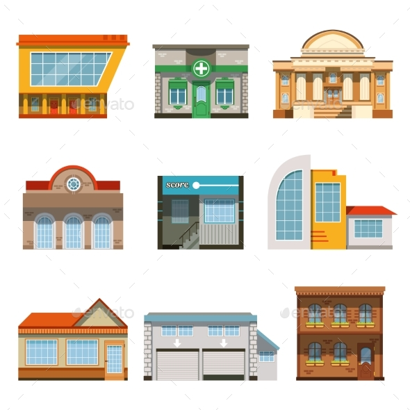 GraphicRiver Store Shop Front Window Buildings Icon Set Flat 20801063