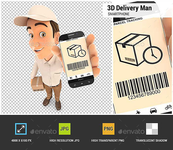 3D Delivery Man Holding Smartphone - Characters 3D Renders