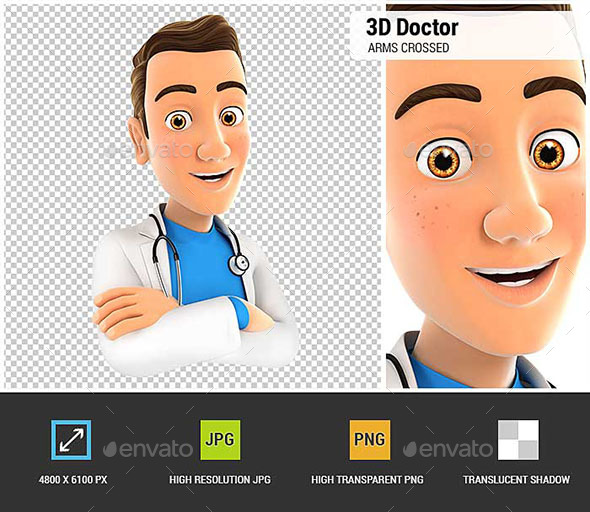 3D Doctor with Arms Crossed - Characters 3D Renders