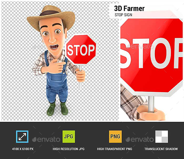 GraphicRiver 3D Farmer Stop Sign 20801330