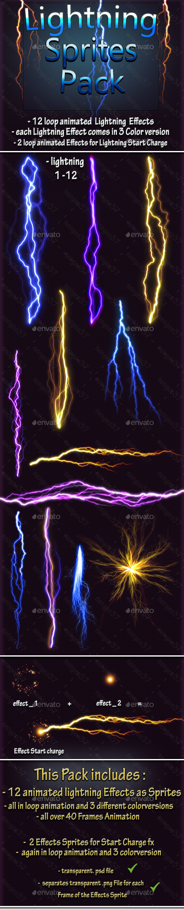 GraphicRiver Lightning Effect Sprites 20801348