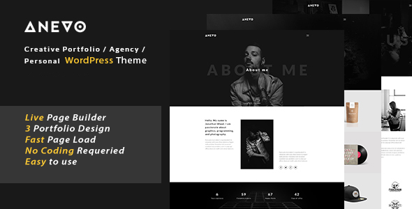 Anevo - Personal Portfolio WordPress Theme - Creative WordPress