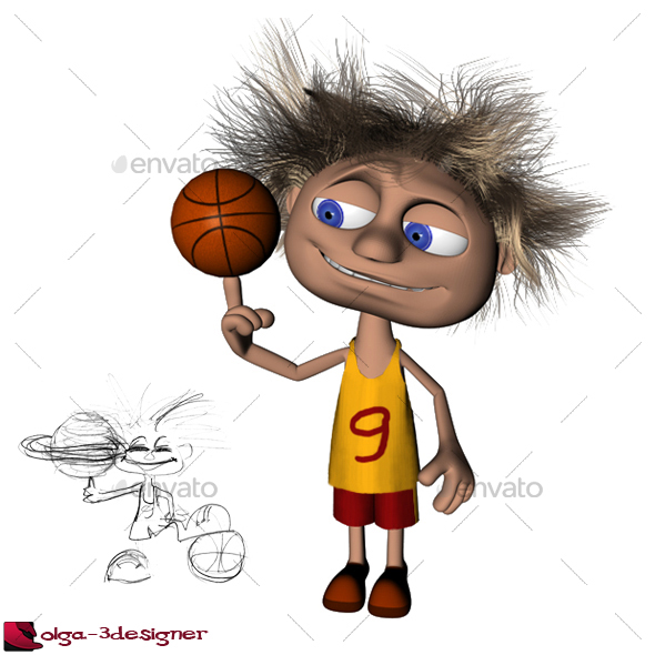 Cartoon Funny Character Basketball Player By Olga 3designer 3docean