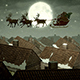 Santa Claus And Deers Flying Over Night City