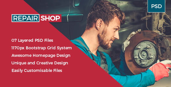 RepairShop -  Auto Service / Tuning Center PSD Template - Miscellaneous PSD Templates