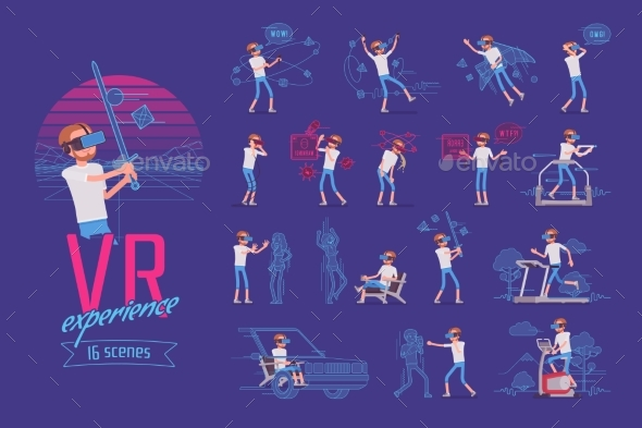 VR Male User Character Set, Various Poses - Technology Conceptual