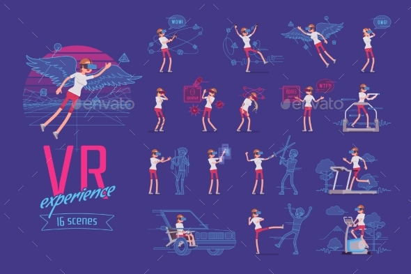 VR Female User Character Set, Various Poses - Technology Conceptual