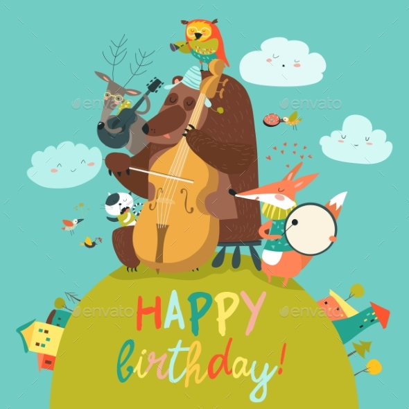 GraphicRiver Cute Birthday Card with Animals and Music 20802333