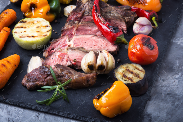 Beef grill meat and vegetables - Stock Photo - Images