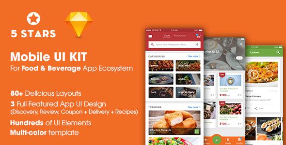 5stars mobile ui kit for food beverage app ecosystem by ntmediasoft. Black Bedroom Furniture Sets. Home Design Ideas