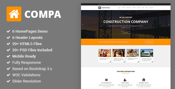 ThemeForest Compa Construction & Building Company HTML5 Template 20569415