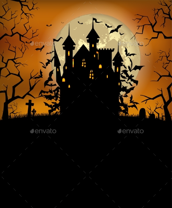 Halloween Background with Dracula Castle