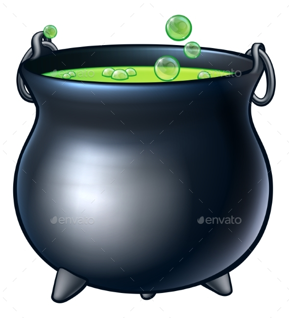 Cartoon Halloween Witch Magic Cauldron