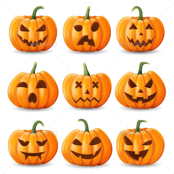 Set of Halloween Pumpkins - Halloween Seasons/Holidays