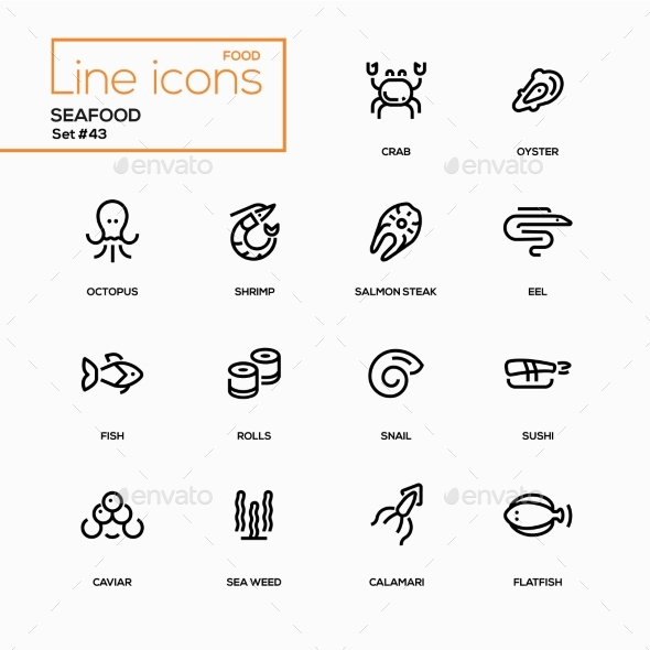 GraphicRiver Seafood Concept Line Design Icons Set 20802940