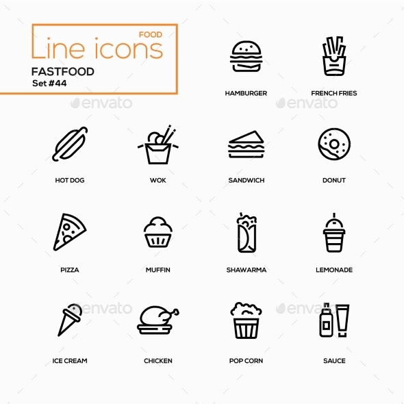 Fastfood Concept - Line Design Icons Set - Miscellaneous Icons