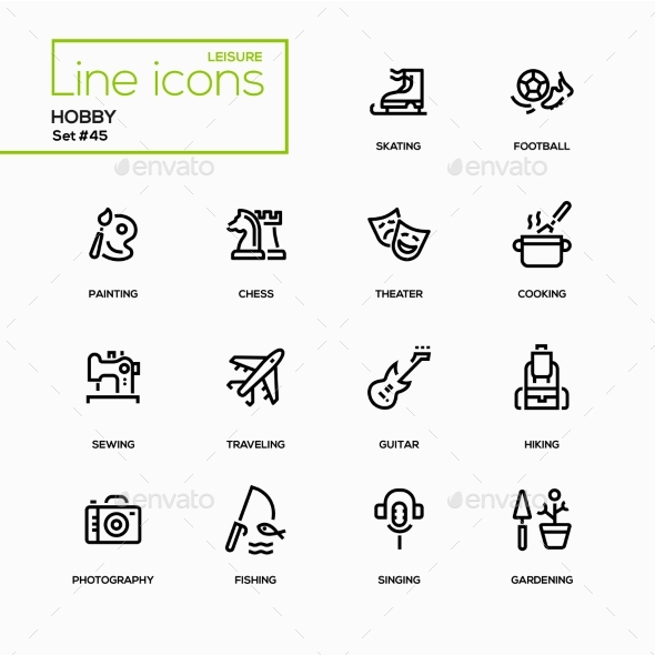 Hobby - Line Design Icons Set - Miscellaneous Icons