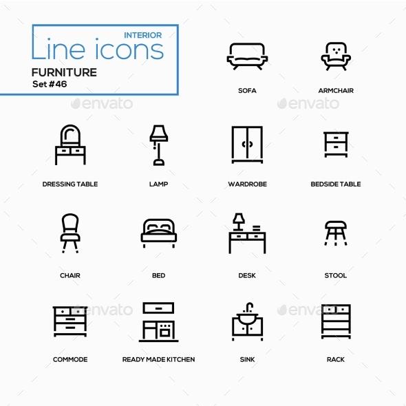Furniture - Line Design Icons Set - Miscellaneous Icons