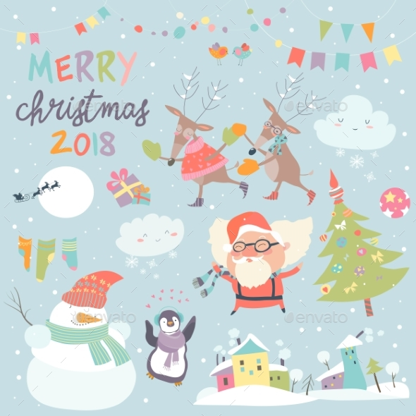 GraphicRiver Set of Christmas Characters and Icons 20803091