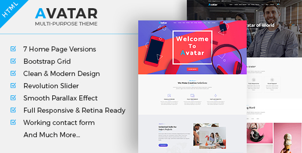 Avatar - One Page Multipurpose Business HTML Template - Corporate Site Templates